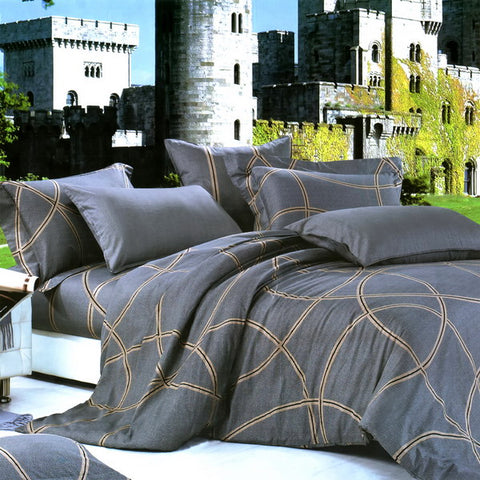 Lake Green Eggplant Color Bedding Set 4Pcs  Duvet Cover Set