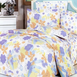 Blancho Bedding - [Purple Orange Flowers] Luxury 7PC Bed In A Bag Combo 300GSM (King Size)