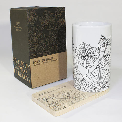SYNC - [Lotus Leaves] Graphic Mug / Wood Coaster - No Handle (4.4 inch height)