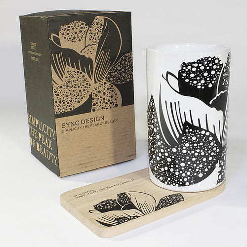 SYNC - [Peony] Graphic Mug / Wood Coaster - No Handle (4.4 inch height)