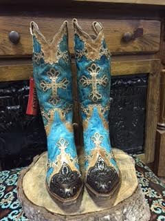 Ferrini Turquoise/brown Studded Cross Boot