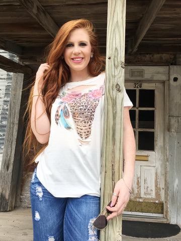 Shredded Leopard Bull Skull Top