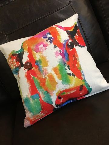 Watercolor Cow Pillow