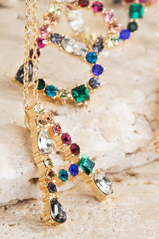Multicolored Rhinestone Initial Necklace