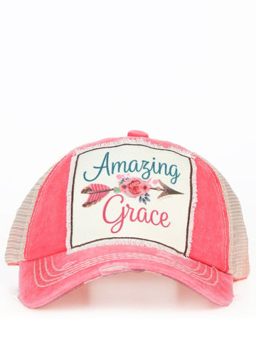 Amazing Grace Distressed Trucker Cap
