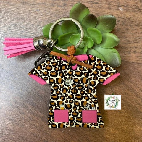 Brown Cheetah with Pink Nurse Scrub Key Chain