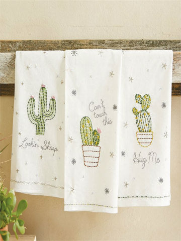 Embroidered Sequin Cactus Towels