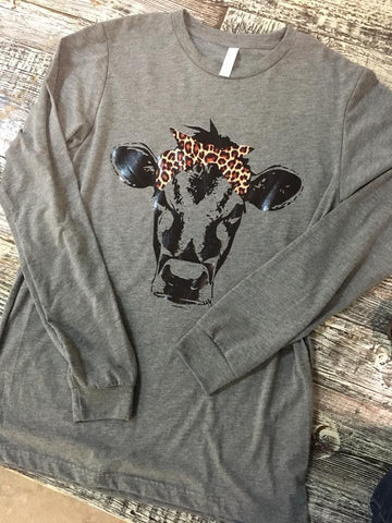 Cow Tee/Leopard Headband
