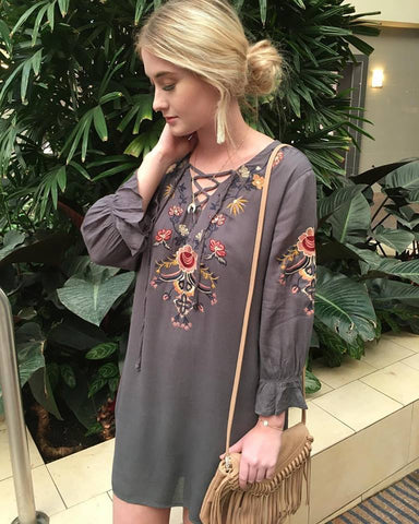 Embroidered Gray Dress