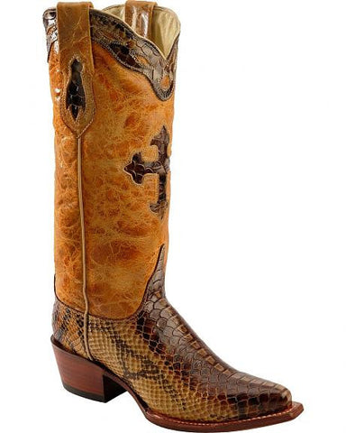 Ferrini Python Print Cross Inlay Boot - Snip Toe