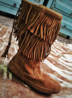 Women's Calf High 2 Layer Fringe Boot