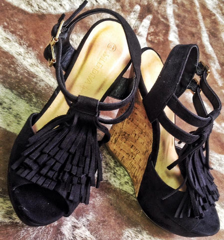 Kendall Black  Fringe Wedge