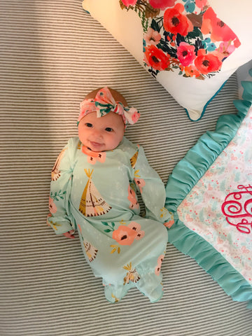 Mint Tee Pee Infant Gown