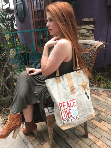 Peace, Love & Coffee Canvas Tote