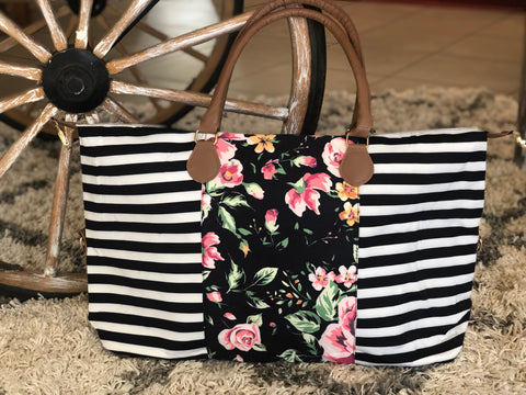 Stripe Floral Duffle