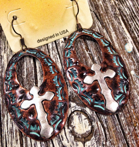Oval Rustic Cross Earrings