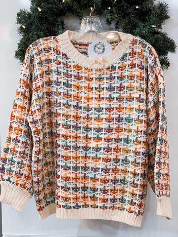 Multi-Colored Textured Sweater
