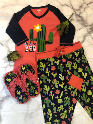 Stuck in Bed Cactus Pajama Set