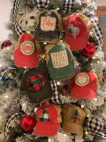 Christmas Embroidered Patch Caps
