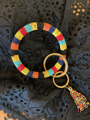 Multi Color Beaded Keyring w/Tassel
