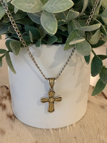 Men's Silver with Ornate Cross Necklace