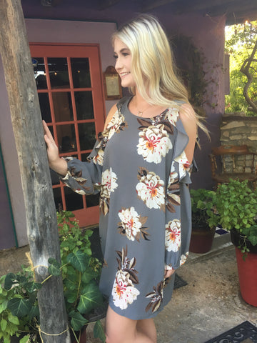 Gray Floral Cold Shoulder Dress