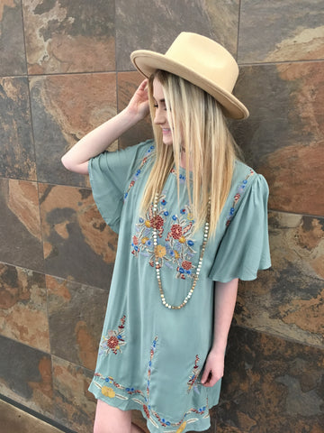 Sassy Sage Embroidered Dress