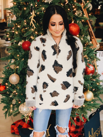 Leopard Fuzzy Pullover