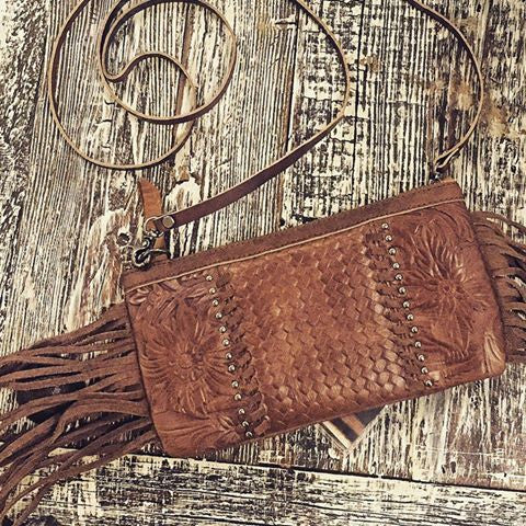 Leather/ Fringe Crossbody