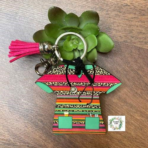 Serape and Cheetah Nurse Scrub Key Chain