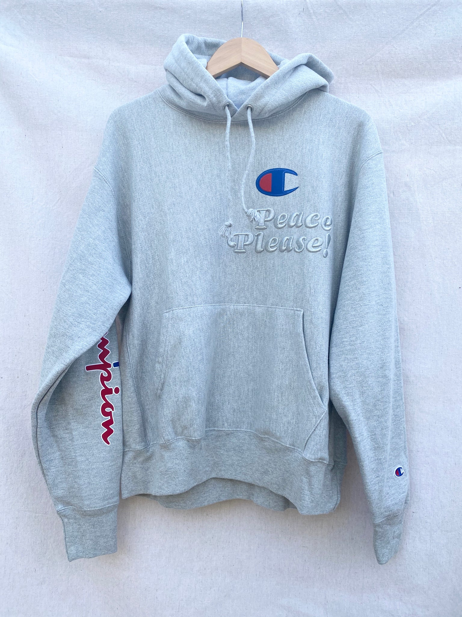 HEATHER GREY PEACE PLEASE! CHAMPION HOODIE