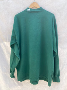 FRONT VIEW OF DARK GREEN LONG SLEEVES TEE WITH ADIDAS EMBROIDERED ON RIGHT CORNER OF MOCK NECK.