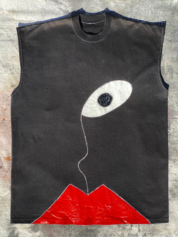 FRONT IMAGE HAND PAINTED BLACK SLEEVELESS TEE.