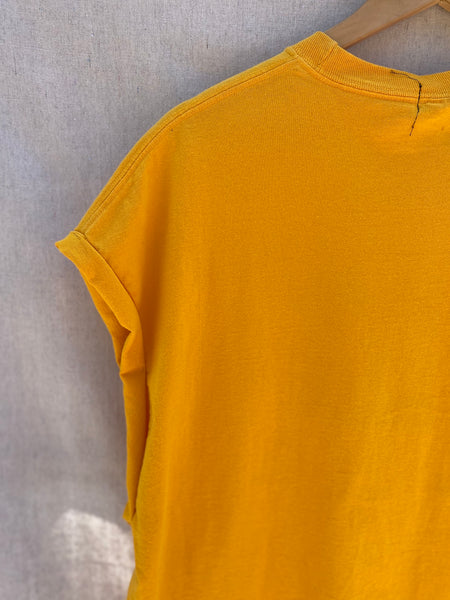 CLOSE UP VIEW OF BACK, UPPER LEFT NECK AND SLEEVE IN POPPY YELLOW.