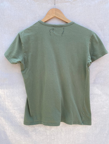 FULL VIEW OF BACK T-SHIRT IN SAGE GREEN.