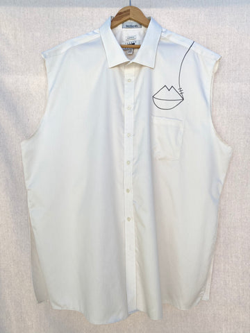 FRONT IMAGE OF OVERSIZED SLEEVELESS BUTTON DOWN SHIRT WITH HAND DRAWN DETAILS.