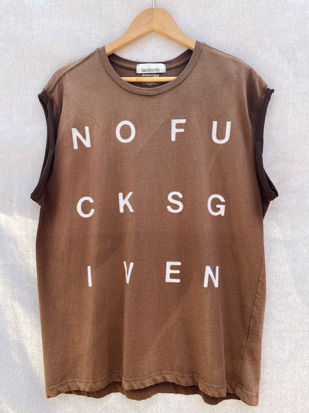 FULL FRONT VIEW OF PRINTED MUSCLE TEE. COLOR IS FADED IN CERTAIN AREA. NOFUCKSGIVEN PRINTED IN WHITE BLOCK LETTERS.