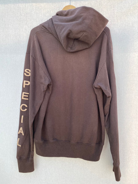 BACK IMAGE OF NOTHING SPECIAL HOODIE IN DARK CHOCOLATE COLOR.