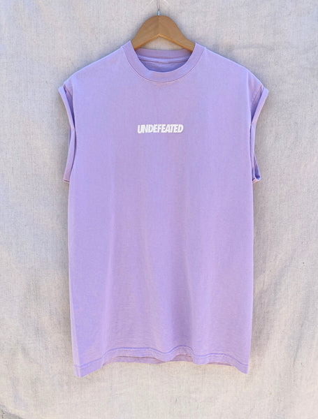 FRONT VIEW OF MUSCLE TEE WITH UNDEFEATED PRINTED ON CHEST AREA