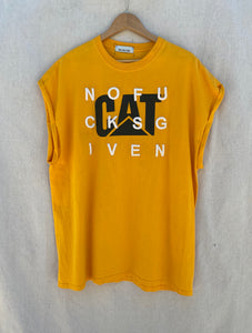 FRONT VIEW OF MUSCLE TEE WITH C A T PRINT AND NOFUCKSGIVEN EMBROIDERY ON IT.