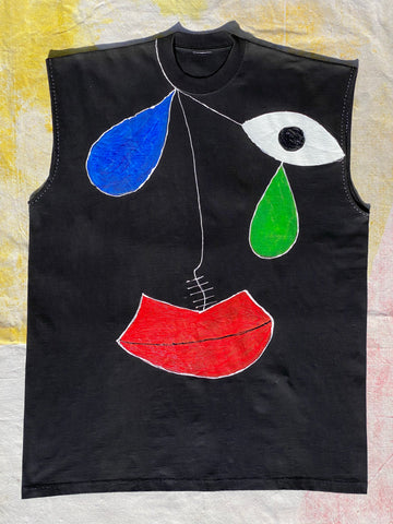 FRONT IMAGE OF HAND PAINTED SLEEVELESS BLACK TEE.
