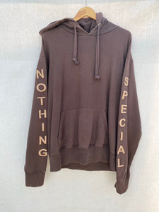 FRONT IMAGE OF NOTHING SPECIAL HOODIE EMBROIDERED ON SLEEVES.