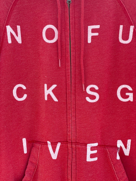 ZOOMED IN VIEW OF NOFUCKSGIVEN PRINT ON ZIP UP HOODIE.