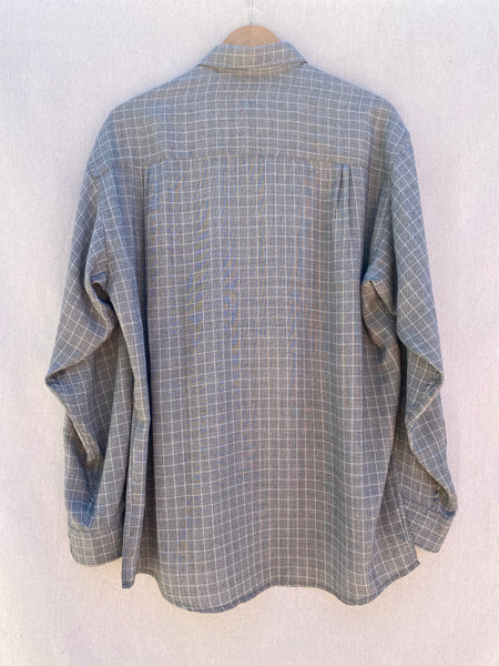 BACK VIEW OF LIGHT GREY WINDOWPANE BUTTON DOWN LONG SLEEVE  SHIRT.