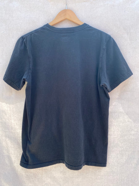 VIEW OF BACK T-SHIRT IN FADED BLACK.