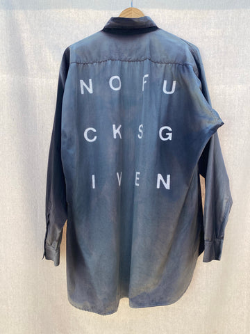back image of sun bleached long sleeves button down shirt with NOFUCKSGIVEN print on it.
