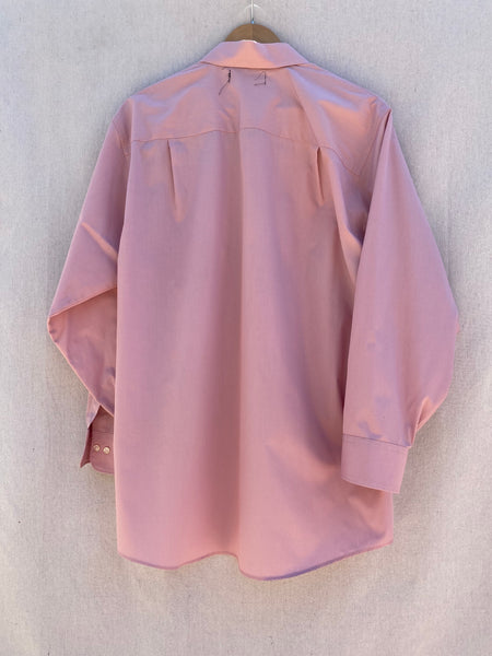 BACK VIEW OF LONG SLEEVE BUTTON DOWN SHIRT IN DUSTY MAUVE.