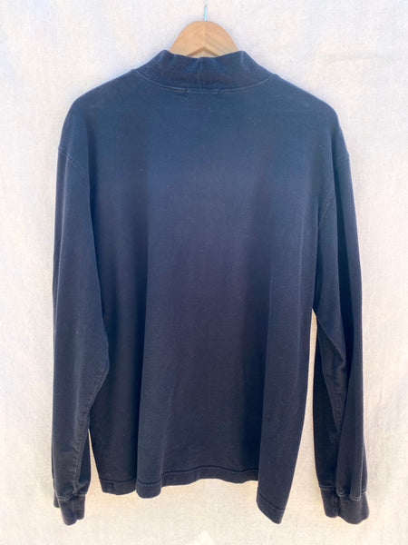 BACK VIEW OF LONG SLEEVES MOCK NECK TEE IN FADED BLACK.