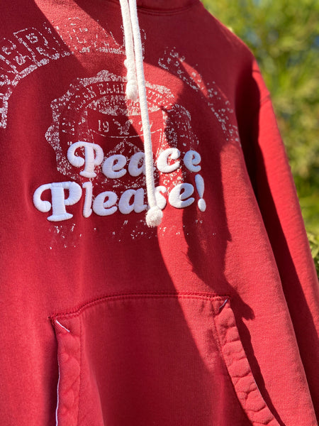 PEACE PLEASE! HOODIE IN FADED RED