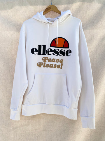 PEACE PLEASE! WHITE ELLESSE HOODIE